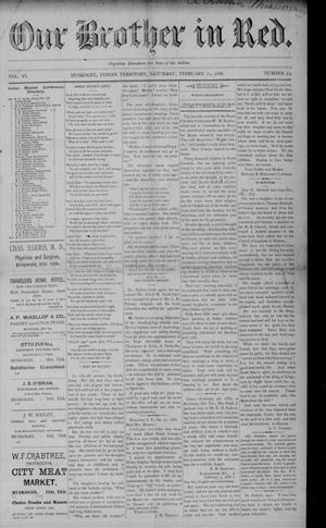 Primary view of Our Brother in Red. (Muskogee, Indian Terr.), Vol. 6, No. 23, Ed. 1 Saturday, February 11, 1888