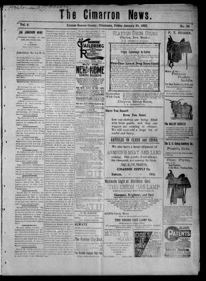 Primary view of object titled 'The Cimarron News. (Kenton, Okla.), Vol. 4, No. 26, Ed. 1 Friday, January 31, 1902'.