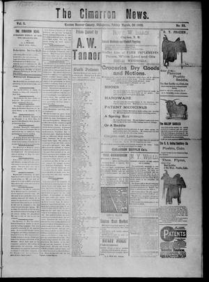 Primary view of object titled 'The Cimarron News. (Kenton, Okla.), Vol. 5, No. 33, Ed. 1 Friday, March 20, 1903'.