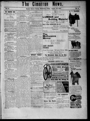 Primary view of object titled 'The Cimarron News. (Kenton, Okla.), Vol. 6, No. 4, Ed. 1 Friday, August 28, 1903'.