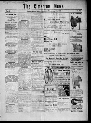 Primary view of object titled 'The Cimarron News. (Kenton, Okla.), Vol. 5, No. 49, Ed. 1 Friday, July 10, 1903'.