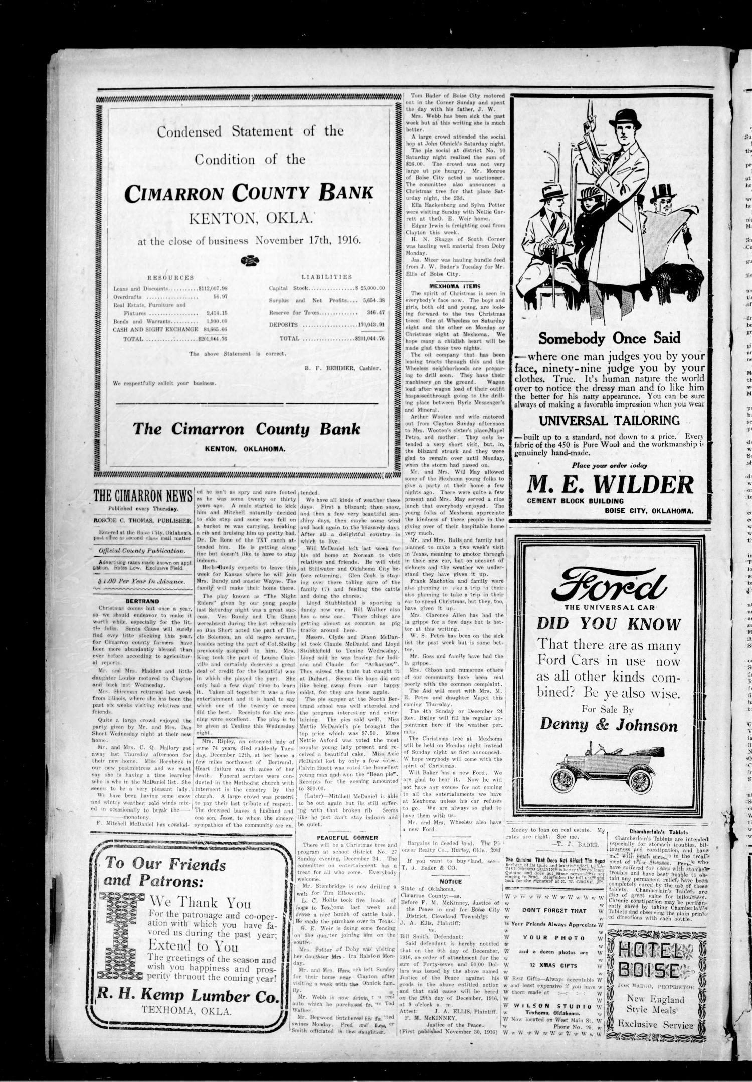 The Cimarron News. (Boise City, Okla.), Vol. 19, No. 21, Ed. 1 Thursday, December 21, 1916                                                                                                      [Sequence #]: 2 of 4