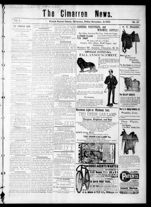 Primary view of object titled 'The Cimarron News. (Kenton, Okla.), Vol. 5, No. 16, Ed. 1 Friday, November 21, 1902'.