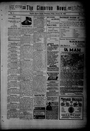 Primary view of object titled 'The Cimarron News. (Kenton, Okla.), Vol. 1, No. 24, Ed. 1 Friday, January 20, 1899'.