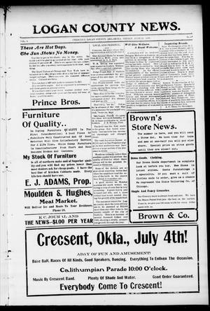 Primary view of object titled 'Logan County News. (Crescent, Okla.), Vol. 4, No. 44, Ed. 1 Friday, June 29, 1906'.