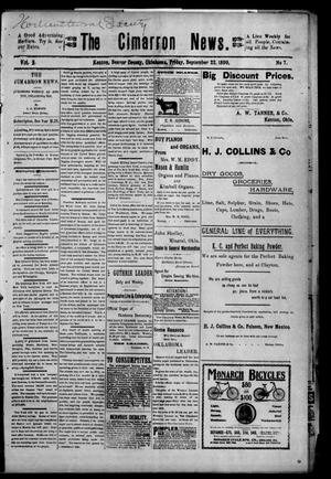 Primary view of object titled 'The Cimarron News. (Kenton, Okla.), Vol. 2, No. 7, Ed. 1 Friday, September 22, 1899'.