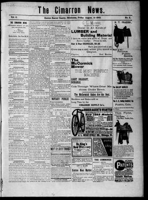 Primary view of object titled 'The Cimarron News. (Kenton, Okla.), Vol. 6, No. 2, Ed. 1 Friday, August 14, 1903'.