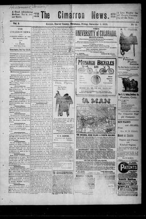 Primary view of object titled 'The Cimarron News. (Kenton, Okla.), Vol. 3, No. 14, Ed. 1 Friday, November 9, 1900'.
