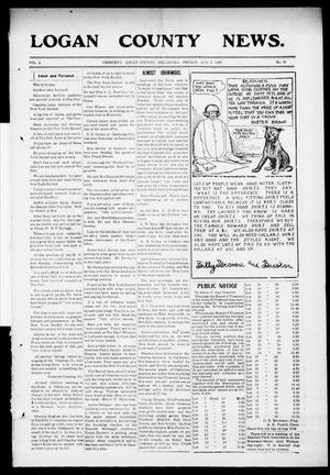 Primary view of object titled 'Logan County News. (Crescent, Okla.), Vol. 4, No. 31, Ed. 1 Friday, August 7, 1908'.