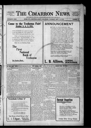 Primary view of object titled 'The Cimarron News. (Boise City, Okla.), Vol. 15, No. 10, Ed. 1 Thursday, September 19, 1912'.