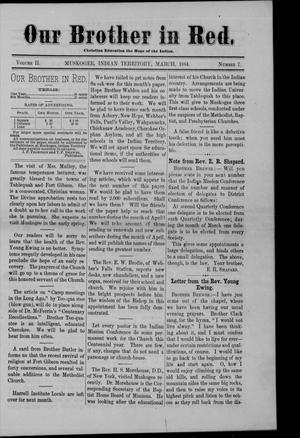 Primary view of Our Brother in Red. (Muskogee, Indian Terr.), Vol. 2, No. 7, Ed. 1 Saturday, March 1, 1884