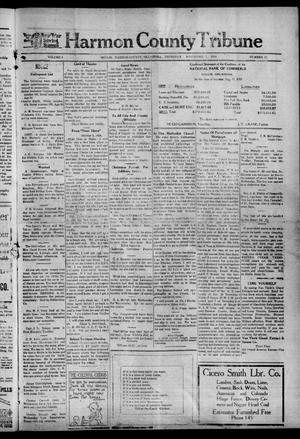 Primary view of object titled 'Harmon County Tribune (Hollis, Okla.), Vol. 9, No. 12, Ed. 1 Thursday, November 7, 1918'.