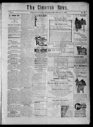 Primary view of object titled 'The Cimarron News. (Kenton, Okla.), Vol. 4, No. 28, Ed. 1 Friday, February 14, 1902'.
