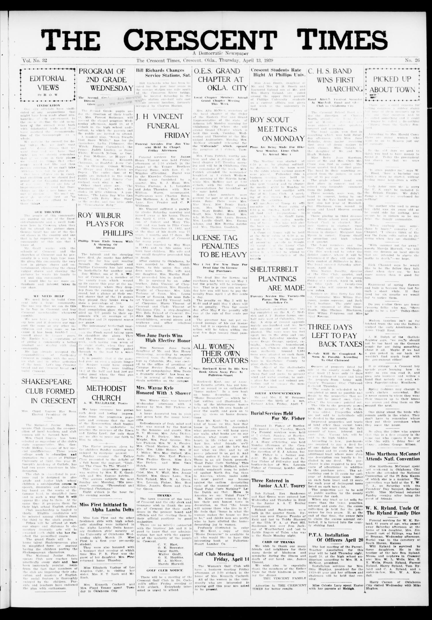 The Crescent Times (Crescent, Okla.), Vol. 32, No. 26, Ed. 1 Thursday, April 13, 1939                                                                                                      [Sequence #]: 1 of 6