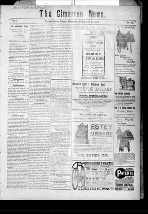 Primary view of object titled 'The Cimarron News. (Kenton, Okla.), Vol. 4, No. 49, Ed. 1 Friday, July 11, 1902'.