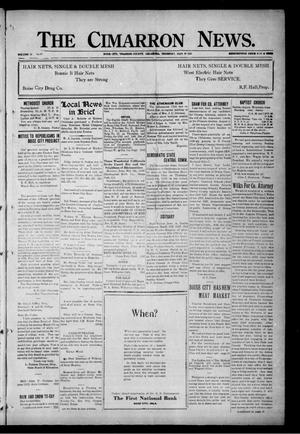 Primary view of object titled 'The Cimarron News. (Boise City, Okla.), Vol. 24, No. 35, Ed. 1 Thursday, March 30, 1922'.