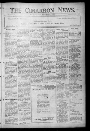 Primary view of object titled 'The Cimarron News. (Boise City, Okla.), Vol. 24, No. 38, Ed. 1 Thursday, April 20, 1922'.