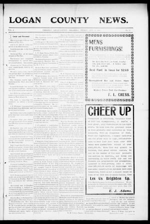 Primary view of object titled 'Logan County News. (Crescent, Okla.), Vol. 4, No. 31, Ed. 1 Friday, September 11, 1908'.