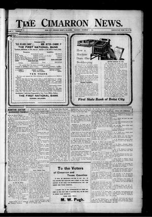 Primary view of object titled 'The Cimarron News. (Boise City, Okla.), Vol. 19, No. 14, Ed. 1 Thursday, November 2, 1916'.