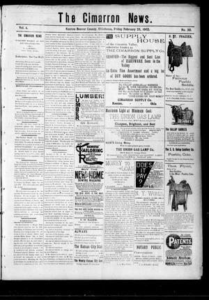 Primary view of object titled 'The Cimarron News. (Kenton, Okla.), Vol. 4, No. 30, Ed. 1 Friday, February 28, 1902'.