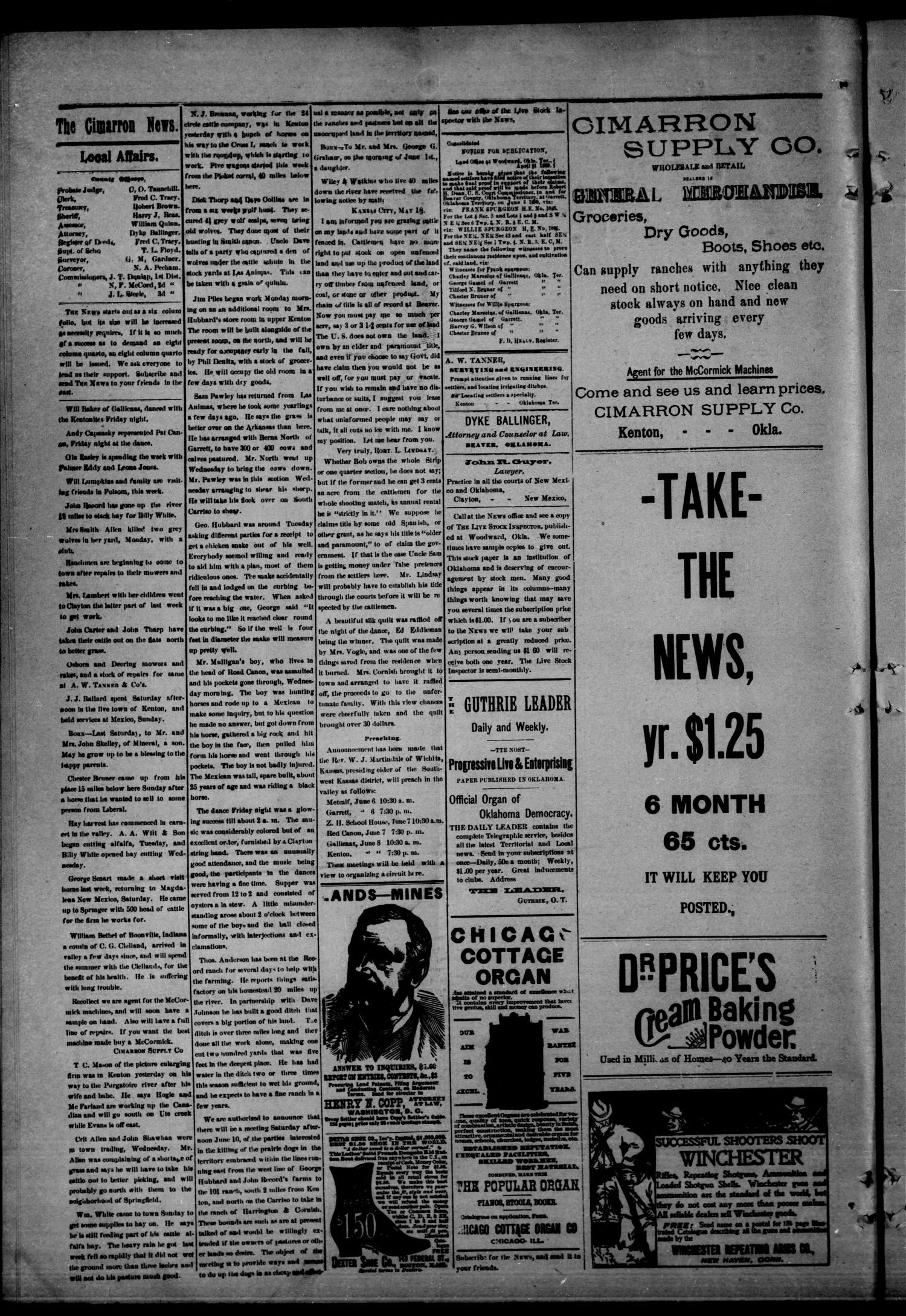 The Cimarron News. (Kenton, Okla.), Vol. 1, No. 43, Ed. 1 Friday, June 2, 1899                                                                                                      [Sequence #]: 4 of 4