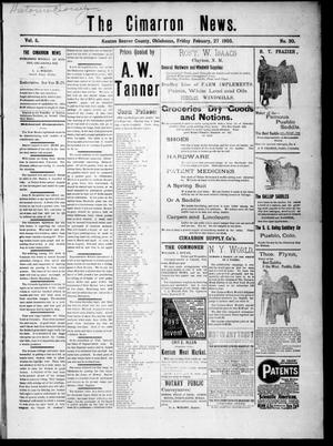 Primary view of object titled 'The Cimarron News. (Kenton, Okla.), Vol. 5, No. 30, Ed. 1 Friday, February 27, 1903'.