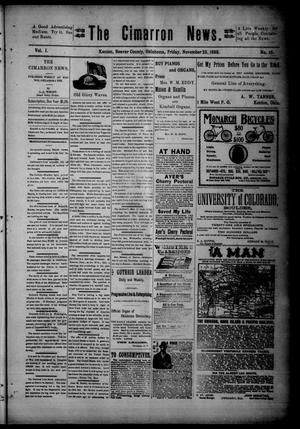 Primary view of object titled 'The Cimarron News. (Kenton, Okla.), Vol. 1, No. 16, Ed. 1 Friday, November 25, 1898'.