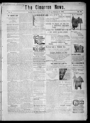 Primary view of object titled 'The Cimarron News. (Kenton, Okla.), Vol. 4, No. 29, Ed. 1 Friday, February 21, 1902'.