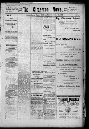 Primary view of object titled 'The Cimarron News. (Kenton, Okla.), Vol. 2, No. 8, Ed. 1 Friday, September 29, 1899'.