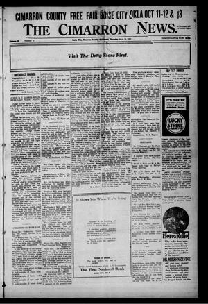 Primary view of object titled 'The Cimarron News. (Boise City, Okla.), Vol. 25, No. 9, Ed. 1 Thursday, September 28, 1922'.