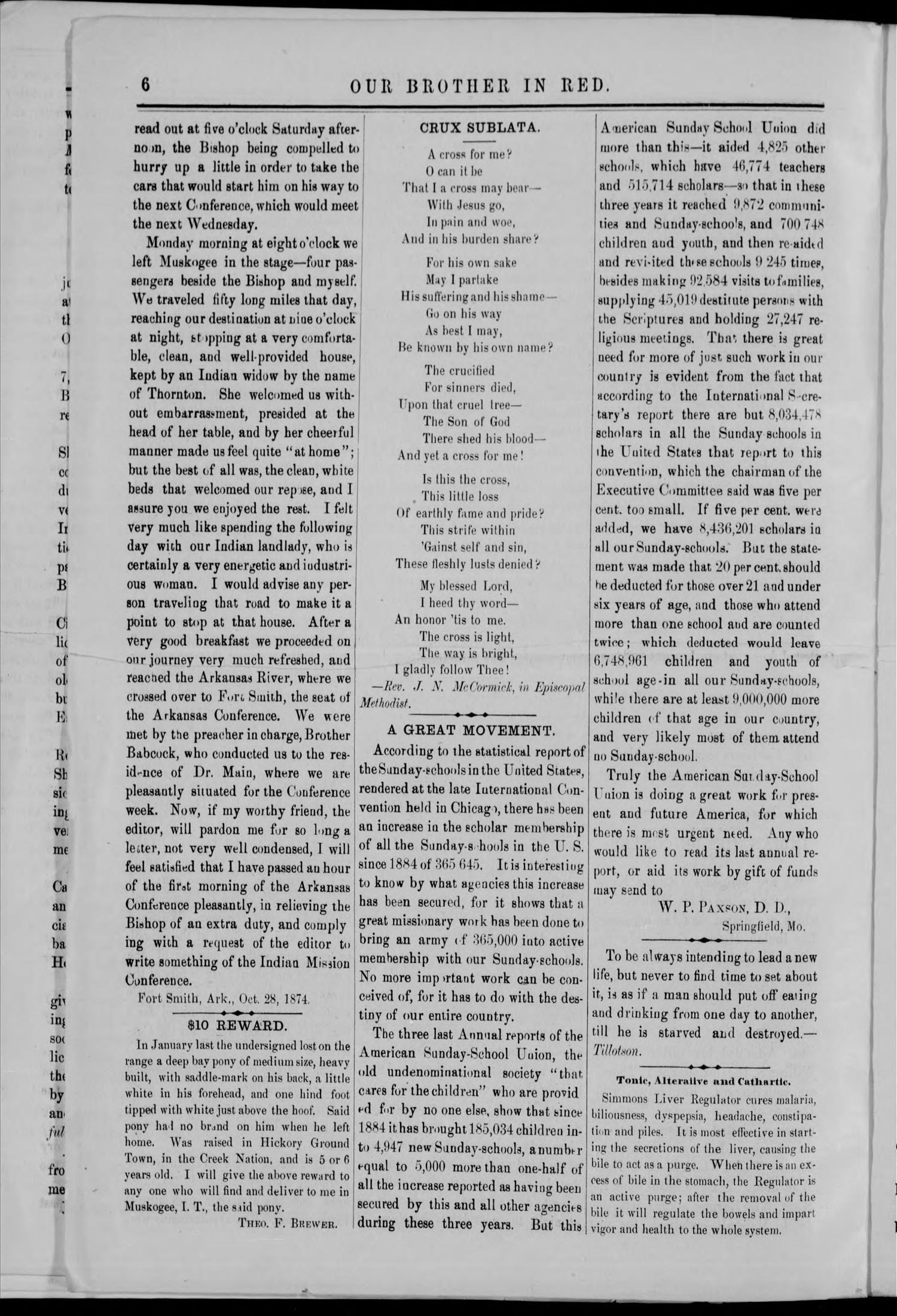 Our Brother in Red. (Muskogee, Indian Terr.), Vol. 5, No. 12, Ed. 1 Monday, August 1, 1887                                                                                                      [Sequence #]: 6 of 16