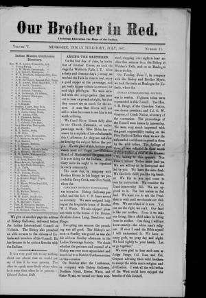 Primary view of Our Brother in Red. (Muskogee, Indian Terr.), Vol. 5, No. 11, Ed. 1 Friday, July 1, 1887