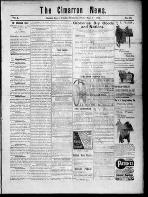 Primary view of object titled 'The Cimarron News. (Kenton, Okla.), Vol. 5, No. 39, Ed. 1 Friday, May 1, 1903'.