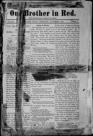 Primary view of object titled 'Our Brother in Red. (Muskogee, Indian Terr.), Vol. 1, No. 3, Ed. 1 Wednesday, November 1, 1882'.
