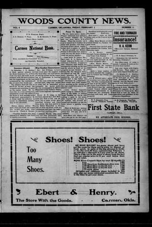 Primary view of object titled 'Woods County News. (Carmen, Okla.), Vol. 8, No. 11, Ed. 1 Friday, February 2, 1906'.