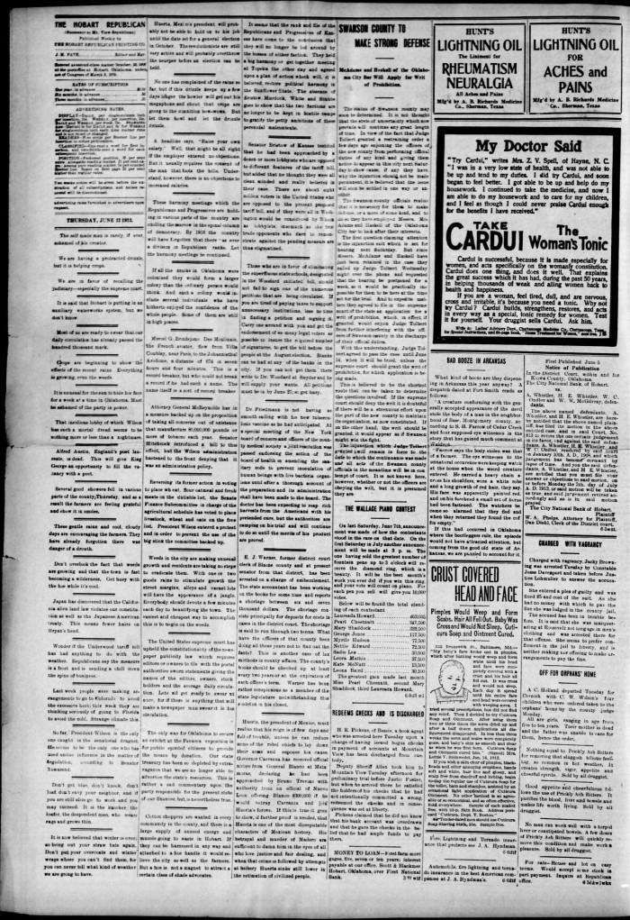 The Hobart Republican  (Hobart, Okla ), Vol  11, No  13, Ed