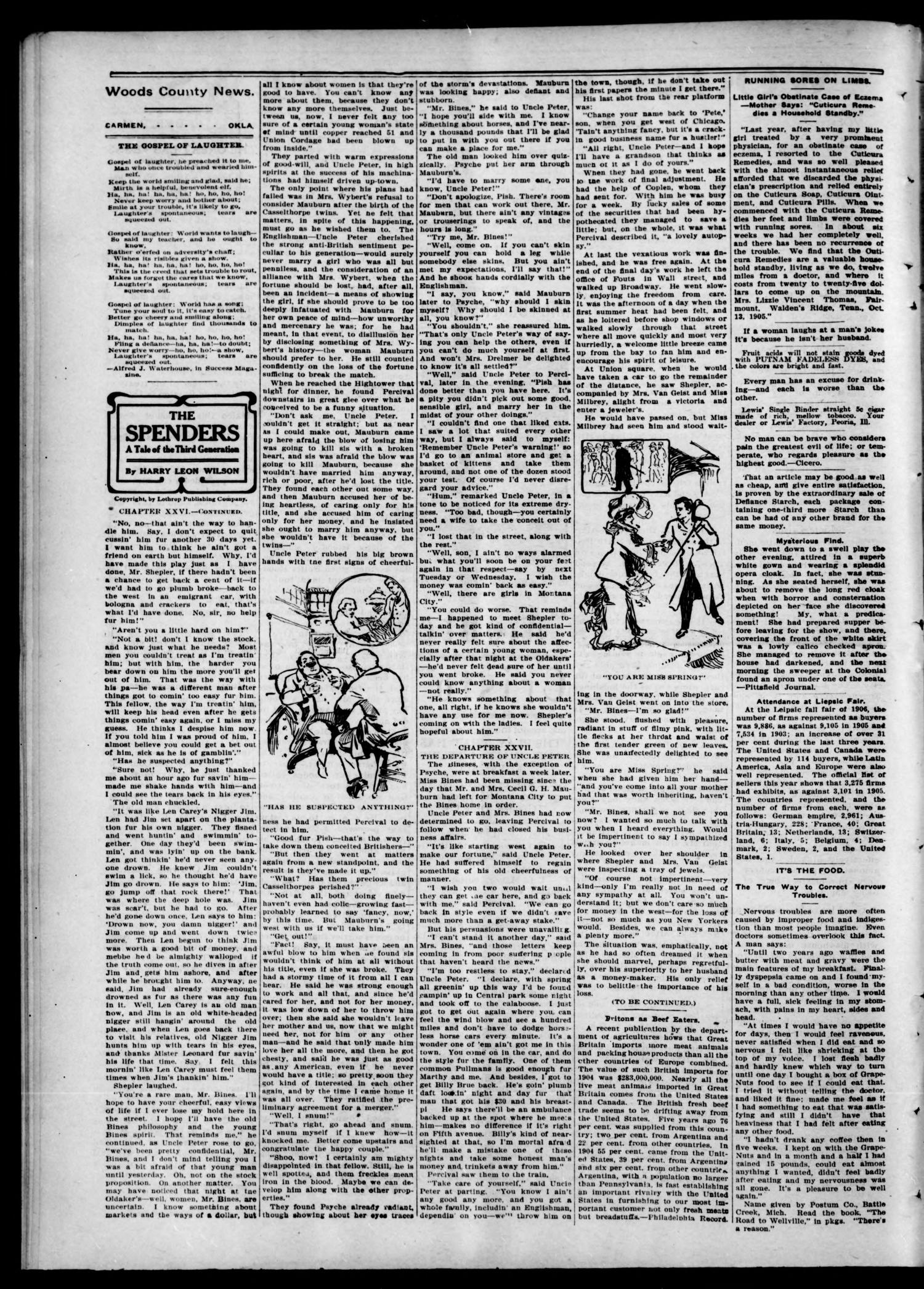 Woods County News. (Carmen, Okla.), Vol. 8, No. 51, Ed. 1 Friday, November 16, 1906                                                                                                      [Sequence #]: 2 of 8