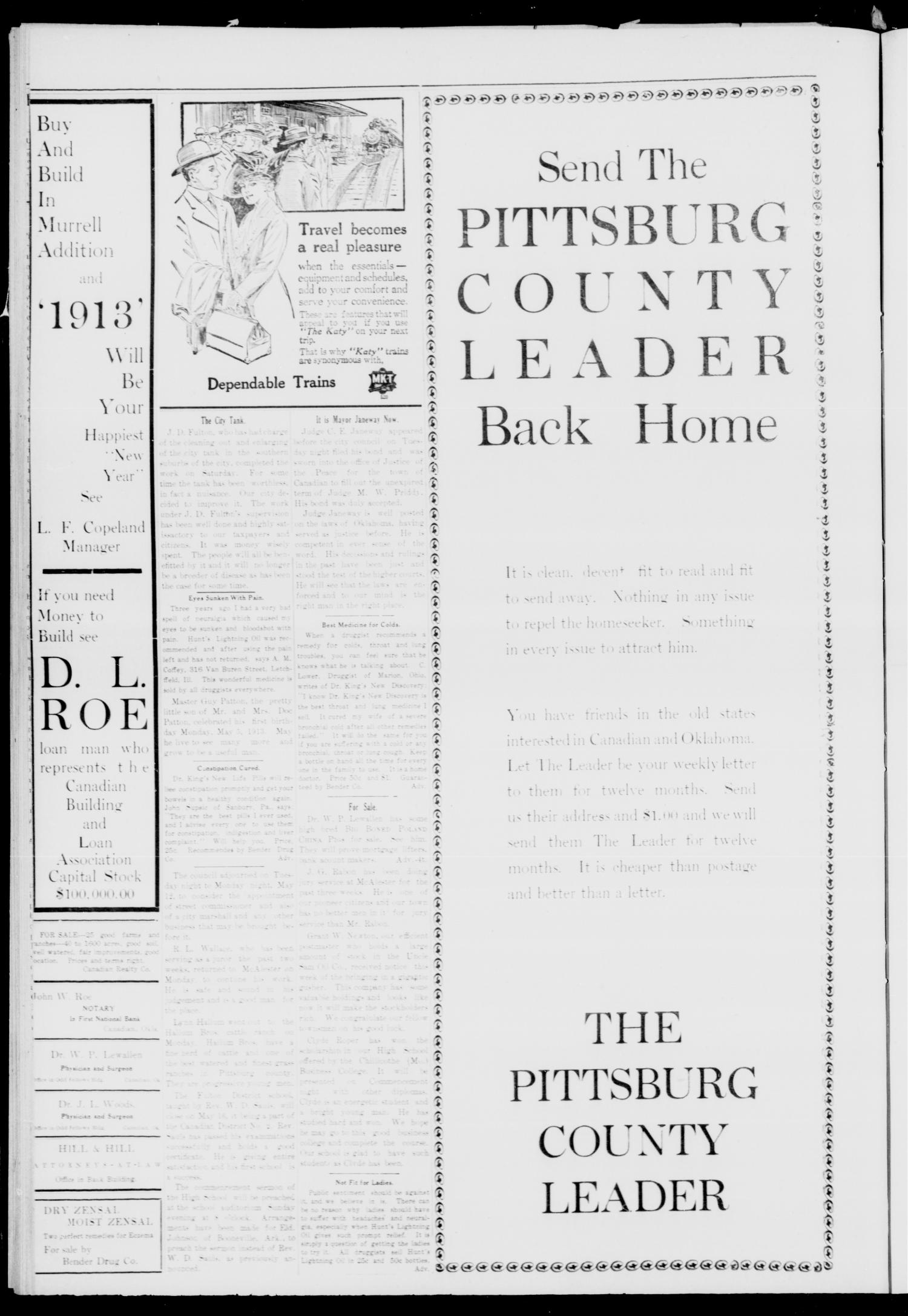 Pittsburg County Leader (Canadian, Okla.), Vol. 3, No. 5, Ed. 1 Friday, May 9, 1913                                                                                                      [Sequence #]: 4 of 4