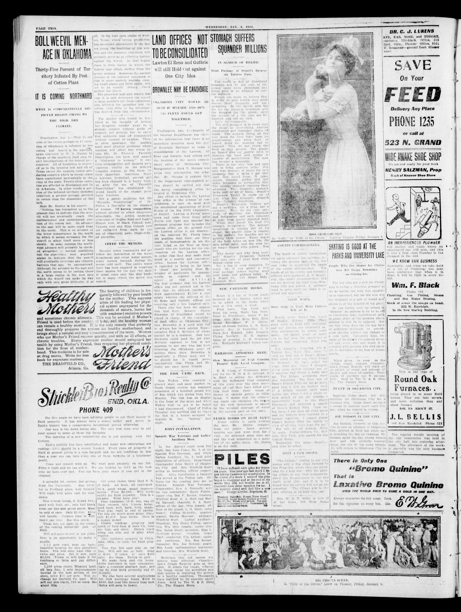 The Enid Daily Eagle. (Enid, Okla.), Vol. 9, No. 287, Ed. 1 Wednesday, January 4, 1911                                                                                                      [Sequence #]: 2 of 8