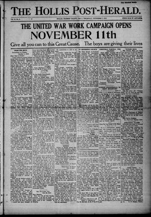 Primary view of object titled 'The Hollis Post-Herald. (Hollis, Okla.), Vol. 16, No. 9, Ed. 1 Thursday, November 7, 1918'.