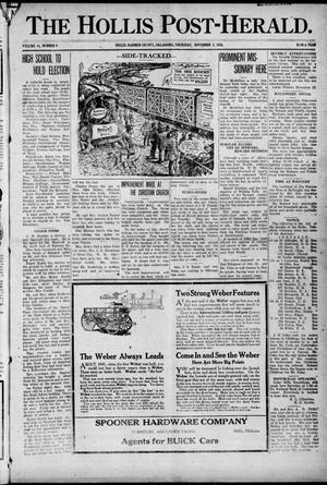 Primary view of object titled 'The Hollis Post-Herald. (Hollis, Okla.), Vol. 14, No. 9, Ed. 1 Thursday, November 2, 1916'.