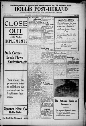 Primary view of Hollis Post-Herald (Hollis, Okla.), Vol. 12, No. 24, Ed. 1 Thursday, January 14, 1915