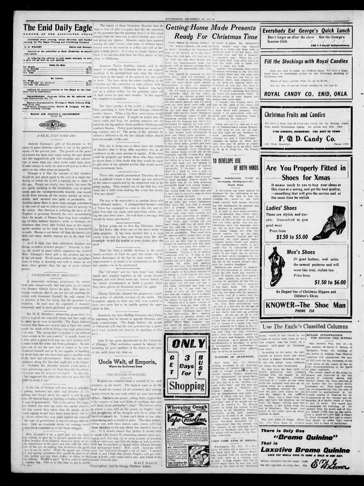The Enid Daily Eagle. (Enid, Okla.), Vol. 9, No. 277, Ed. 1 Wednesday, December 21, 1910                                                                                                      [Sequence #]: 4 of 8