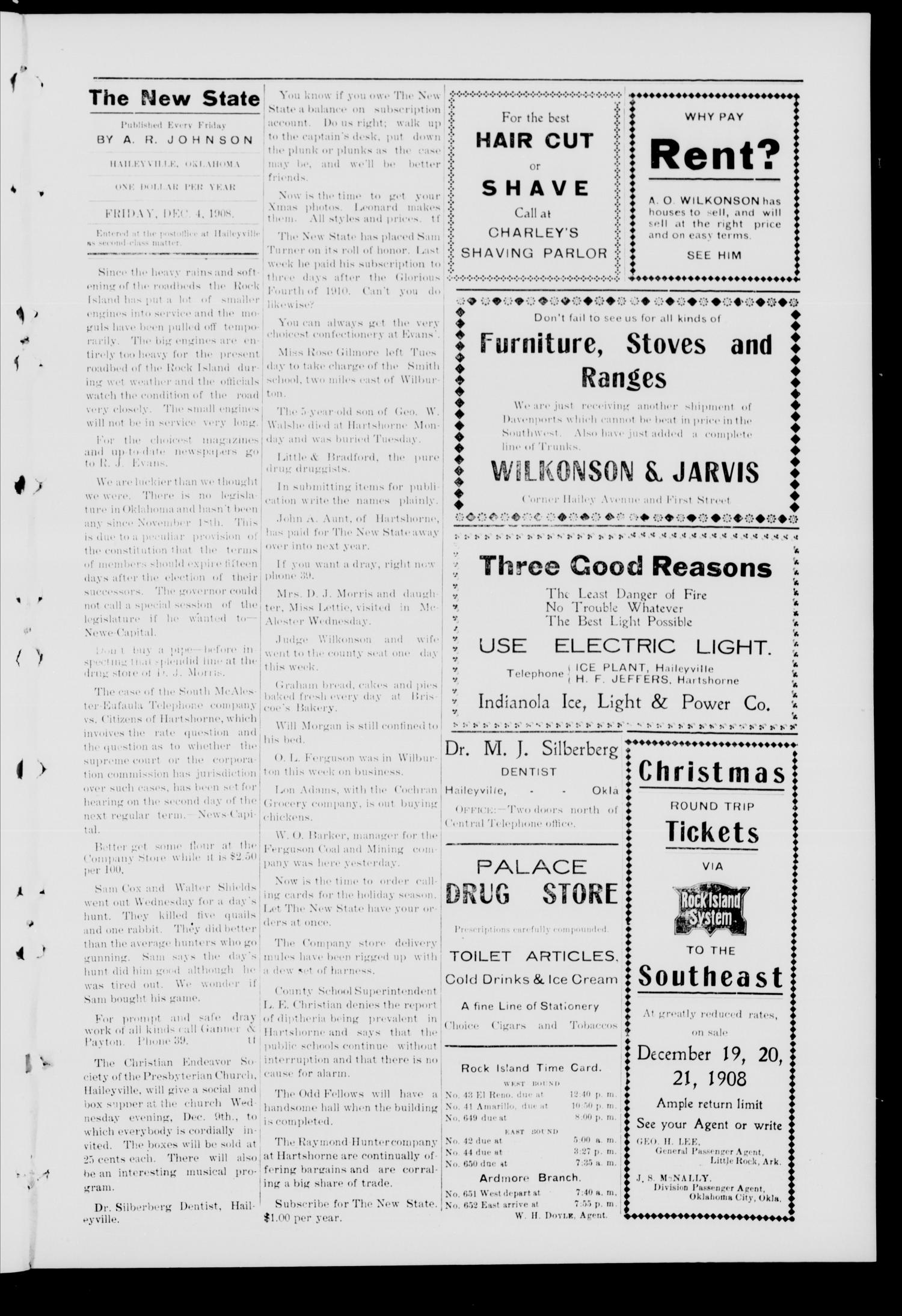 The New State. (Haileyville, Okla.), Vol. 4, No. 40, Ed. 1 Friday, December 4, 1908                                                                                                      [Sequence #]: 3 of 8