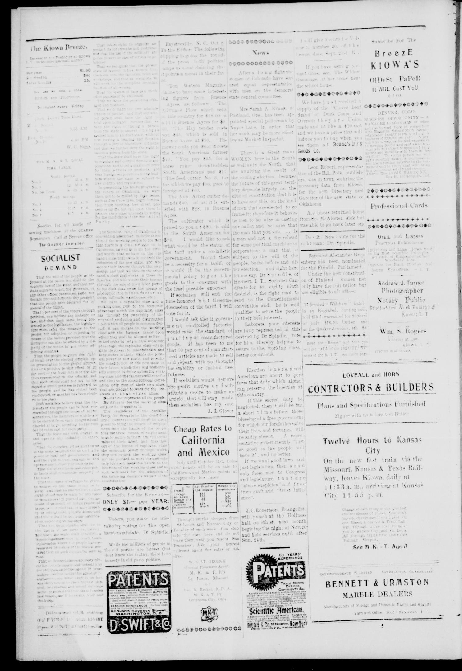 The Kiowa Breeze. (Kiowa, Indian Terr.), Vol. 4, No. 26, Ed. 1 Friday, November 2, 1906                                                                                                      [Sequence #]: 4 of 8