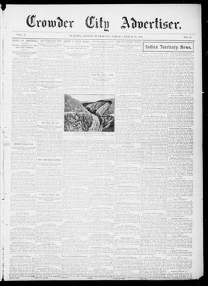 Primary view of object titled 'Crowder City Advertiser. (Juanita, Indian Terr.), Vol. 10, No. 33, Ed. 1 Friday, March 25, 1904'.