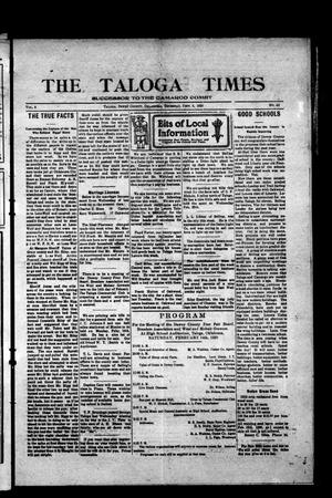 Primary view of object titled 'The Taloga Times (Taloga, Okla.), Vol. 8, No. 43, Ed. 1 Thursday, February 5, 1920'.