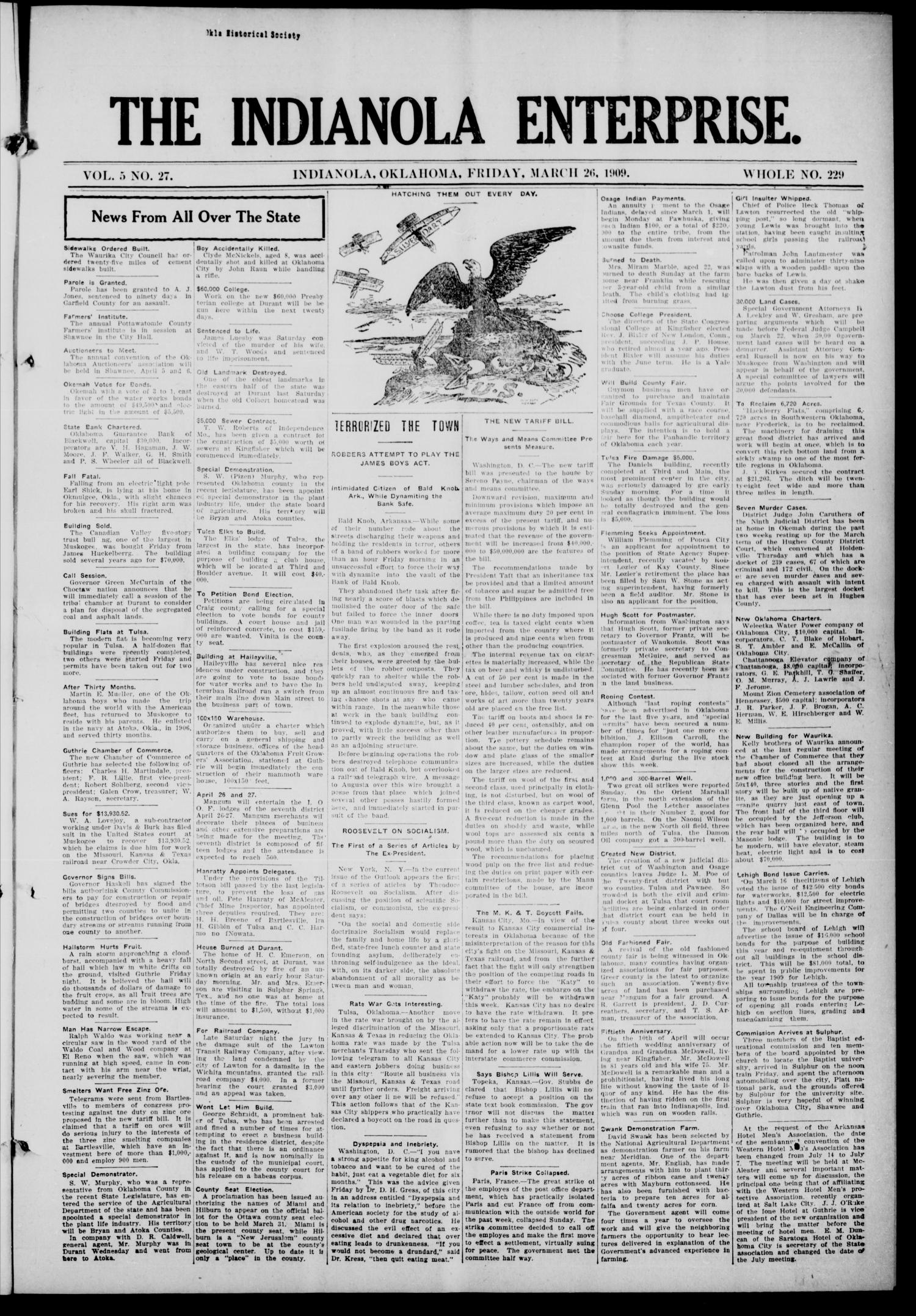 The Indianola Enterprise. (Indianola, Okla.), Vol. 5, No. 27, Ed. 1 Friday, March 26, 1909                                                                                                      [Sequence #]: 1 of 8