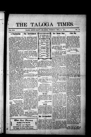 Primary view of object titled 'The Taloga Times. (Taloga, Okla.), Vol. 18, No. 10, Ed. 1 Thursday, December 3, 1914'.