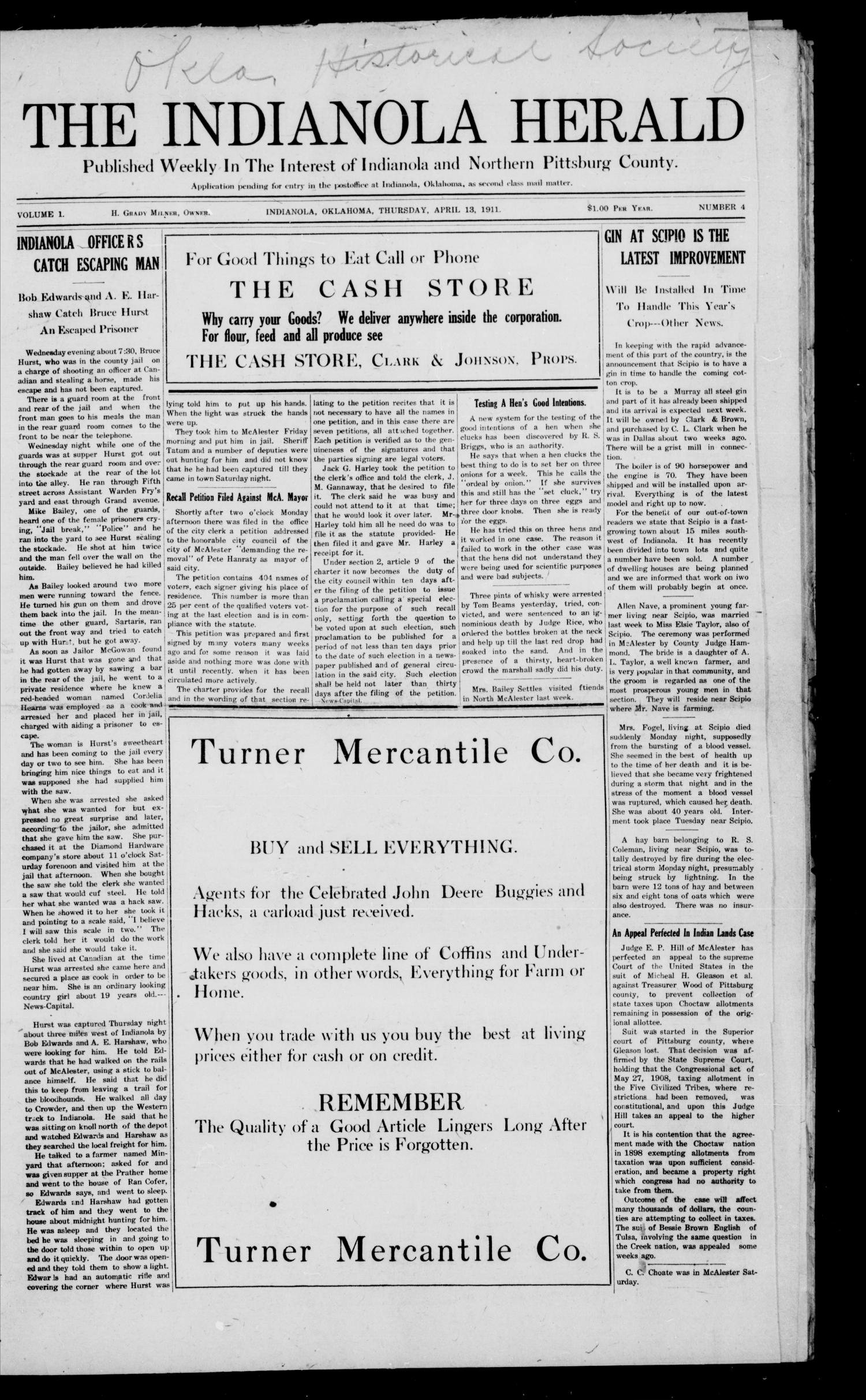 The Indianola Herald (Indianola, Okla ), Vol  1, No  4, Ed
